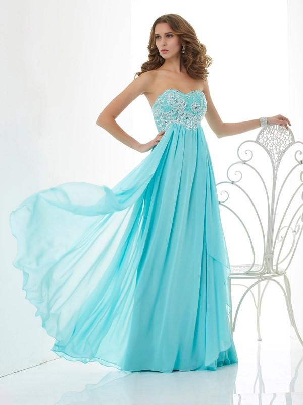 A-Line/Princess Chiffon Sweetheart Floor-Length Beading Sleeveless Dresses