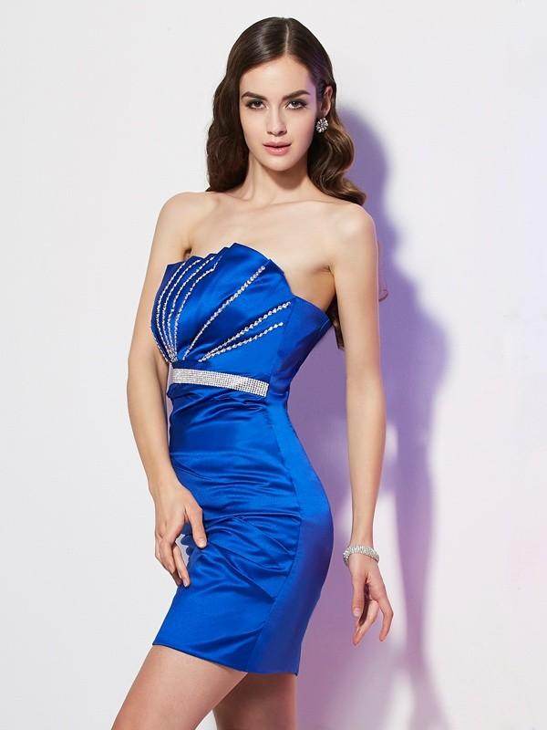 Sheath/Column Satin Strapless Short/Mini Beading Sleeveless Cocktail Dresses