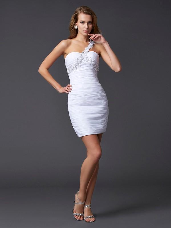 Sheath/Column Chiffon One-Shoulder Short/Mini Beading Applique Sleeveless Cocktail Dresses