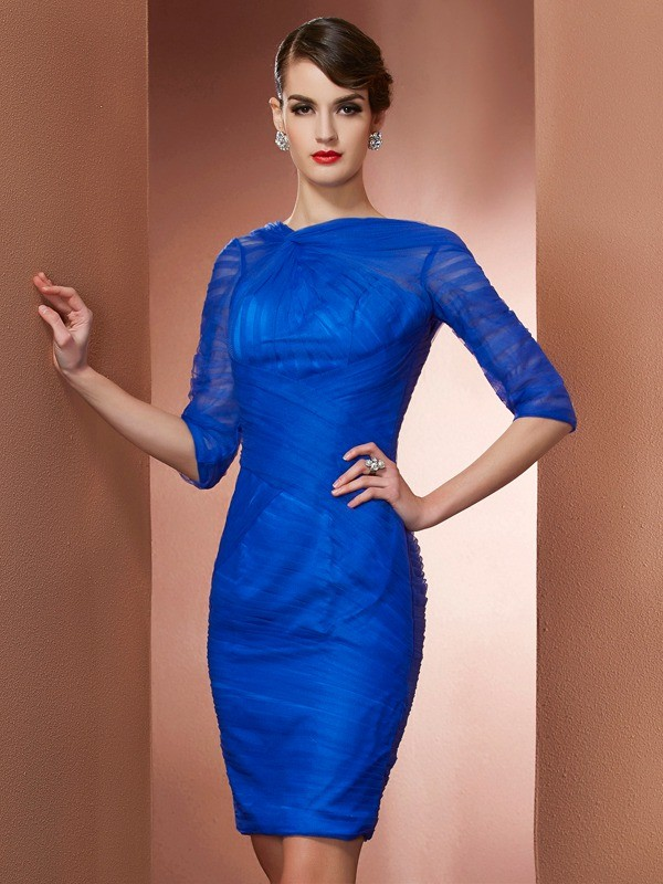 Sheath/Column Elastic Woven Satin Net High Neck Short/Mini Pleats 1/2 Sleeves Cocktail Dresses