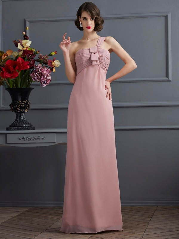 Sheath/Column Chiffon One-Shoulder Floor-Length Pleats Sleeveless Bridesmaid Dresses