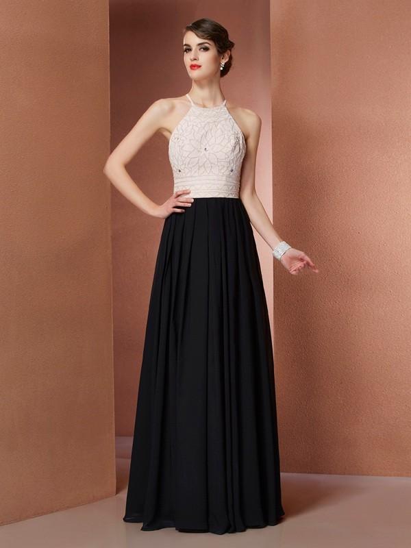 A-Line/Princess Scoop Sleeveless Floor-Length Black Dresses