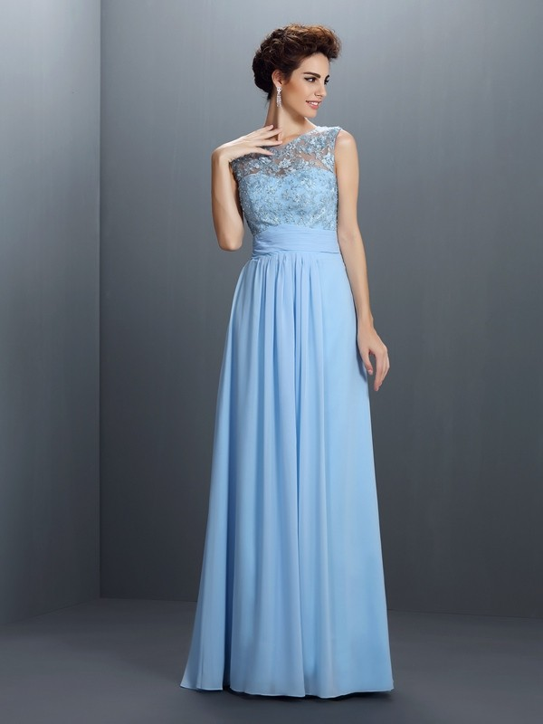 A-Line/Princess Sleeveless Applique Floor-Length Bateau Chiffon Dresses