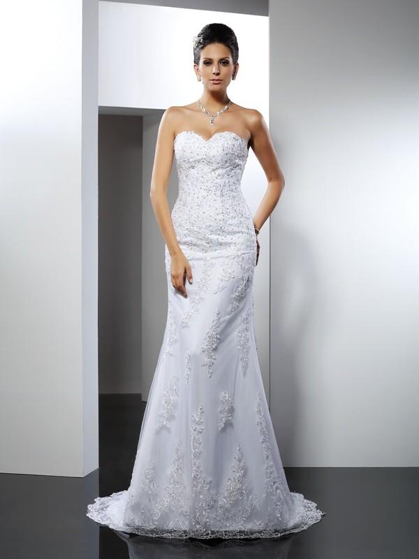 Trumpet/Mermaid Sleeveless Lace Court Train Sweetheart Satin Wedding Dresses