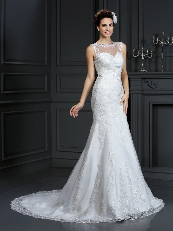 Sheath/Column Sleeveless Lace Court Train Bateau Satin Wedding Dresses
