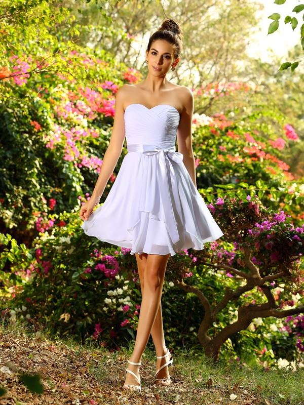 A-Line/Princess Sleeveless Bowknot Short/Mini Sweetheart Chiffon Bridesmaid Dresses