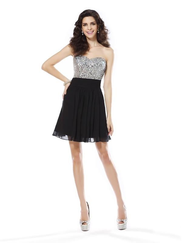 A-Line/Princess Sleeveless Beading Short/Mini Sweetheart Chiffon Cocktail Dresses