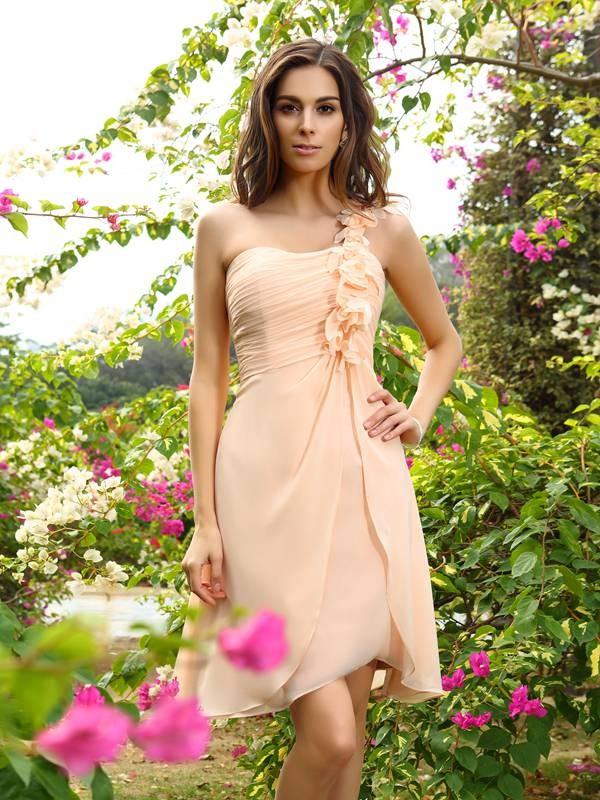 A-Line/Princess Sleeveless Ruched Knee-Length One-Shoulder Chiffon Bridesmaid Dresses