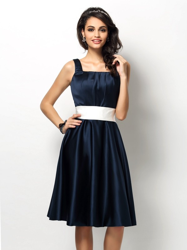 Sheath/Column Sleeveless Sash/Ribbon/Belt Knee-Length Square Satin Bridesmaid Dresses