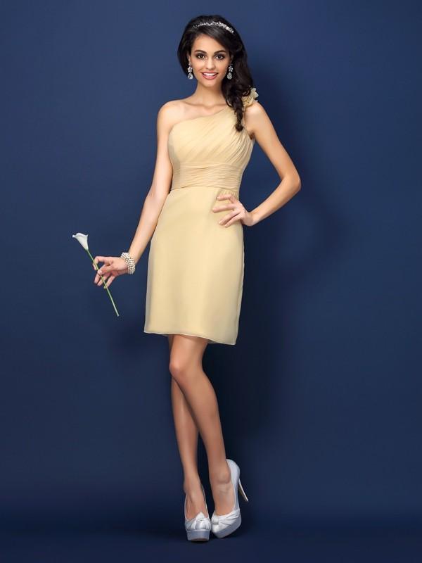Sheath/Column Sleeveless Hand-Made Flower Short/Mini One-Shoulder Chiffon Bridesmaid Dresses