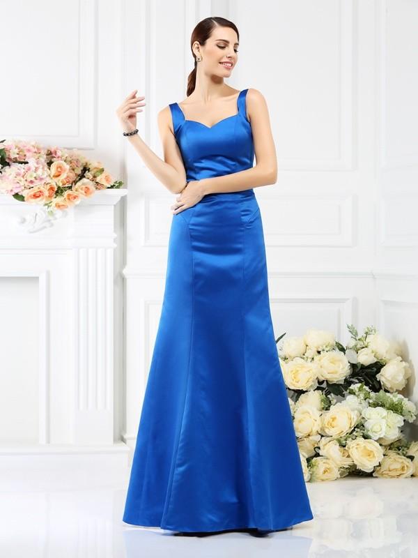 Sheath/Column Sleeveless Floor-Length Straps Satin Bridesmaid Dresses