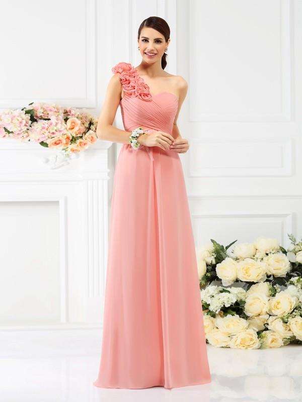 A-Line/Princess Sleeveless Hand-Made Flower Floor-Length One-Shoulder Chiffon Bridesmaid Dresses