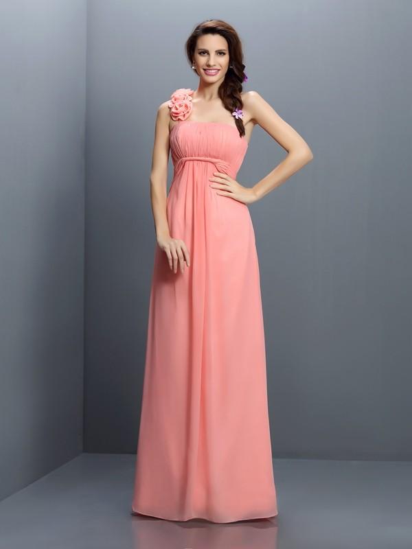 A-Line/Princess Sleeveless Hand-Made Flower Floor-Length Strapless Chiffon Bridesmaid Dresses