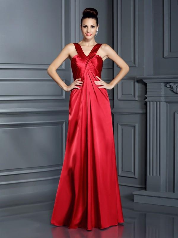A-Line/Princess Sleeveless Floor-Length Straps Elastic Woven Satin Bridesmaid Dresses