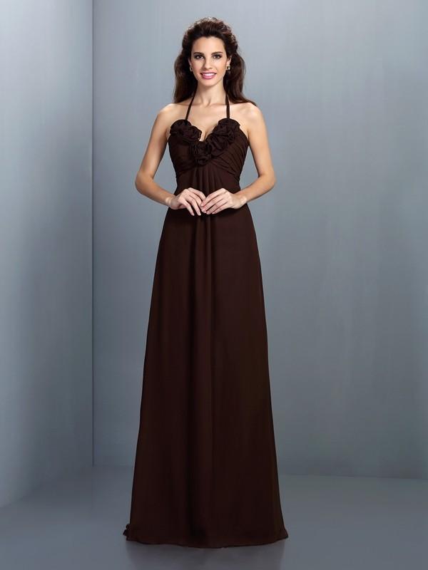A-Line/Princess Sleeveless Hand-Made Flower Floor-Length Halter Chiffon Bridesmaid Dresses
