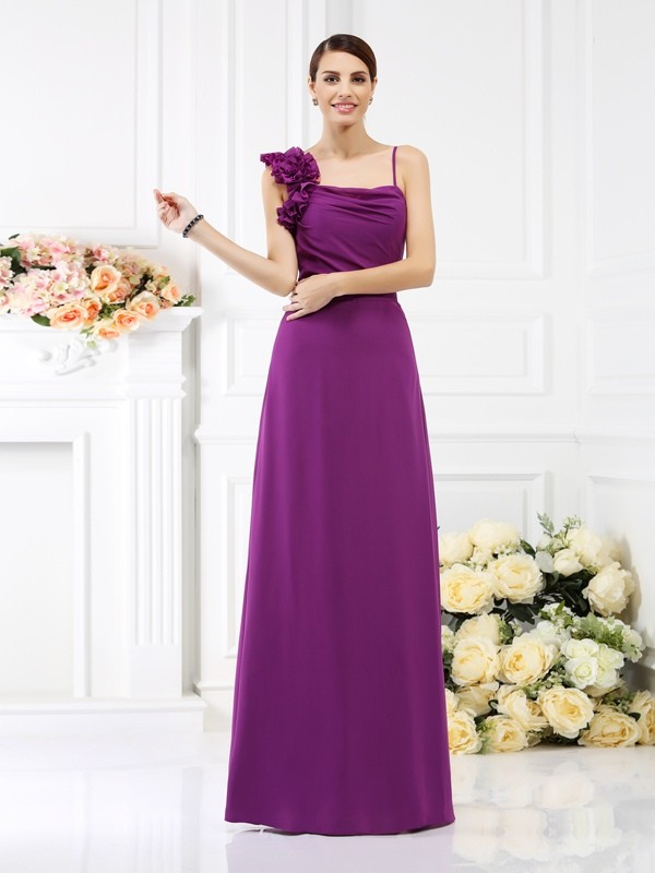 Sheath/Column Sleeveless Hand-Made Flower Floor-Length Spaghetti Straps Chiffon Bridesmaid Dresses