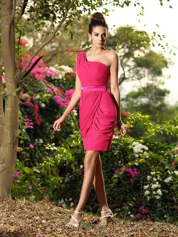 Sheath/Column Sleeveless Short/Mini One-Shoulder Chiffon Bridesmaid Dresses