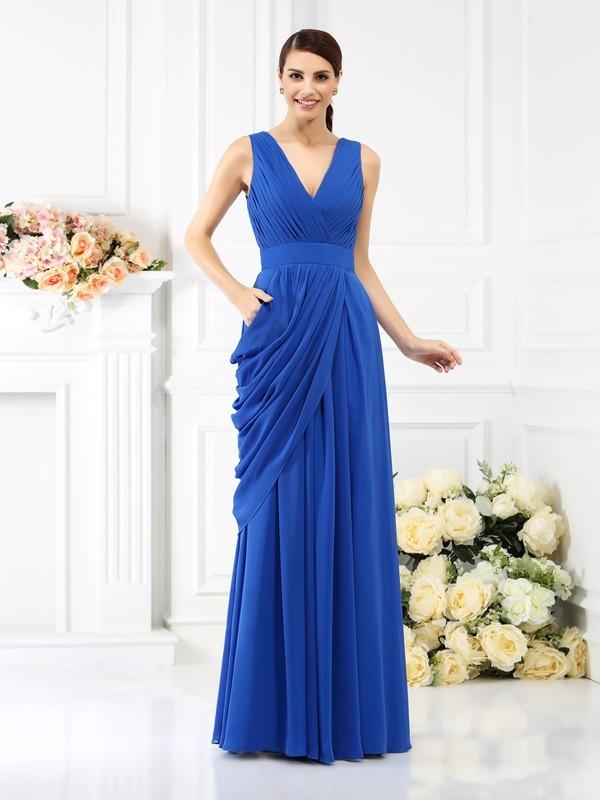 A-Line/Princess Sleeveless Pleats Floor-Length V-neck Chiffon Bridesmaid Dresses