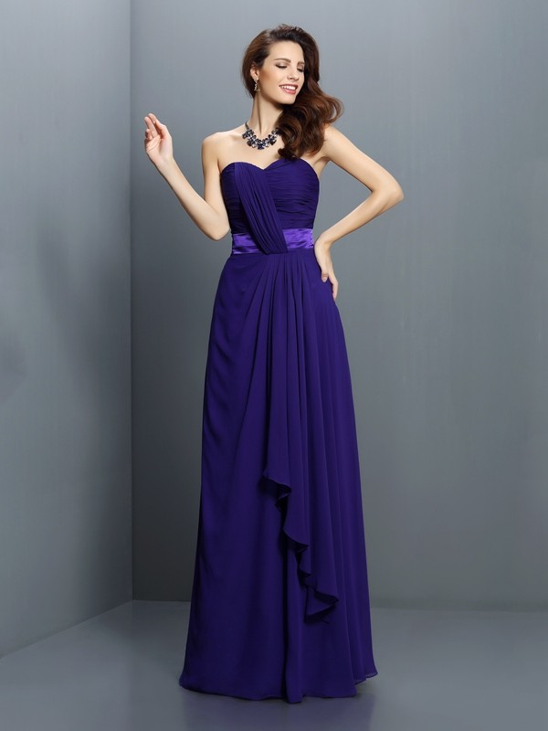 A-Line/Princess Sleeveless Pleats Floor-Length Sweetheart Chiffon Bridesmaid Dresses