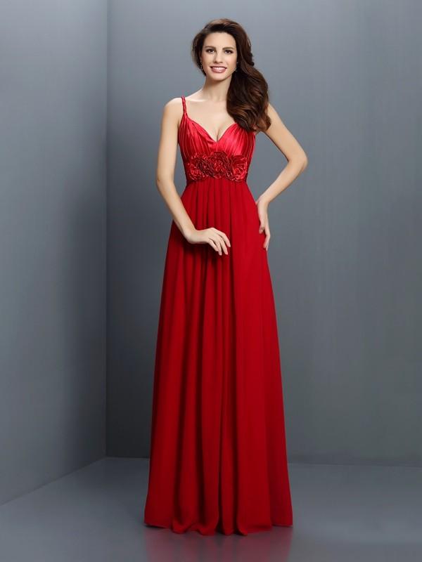 A-Line/Princess Sleeveless Hand-Made Flower Floor-Length V-neck Spaghetti Straps Chiffon Bridesmaid Dresses