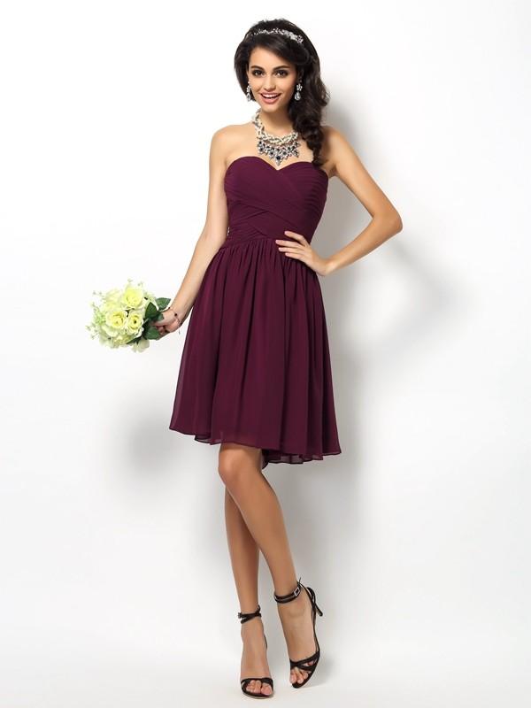 A-Line/Princess Sleeveless Pleats Short/Mini Sweetheart Chiffon Bridesmaid Dresses