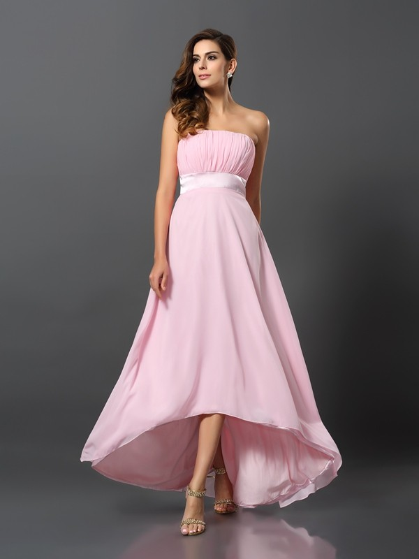 A-Line/Princess Sleeveless Asymmetrical Strapless Chiffon Bridesmaid Dresses