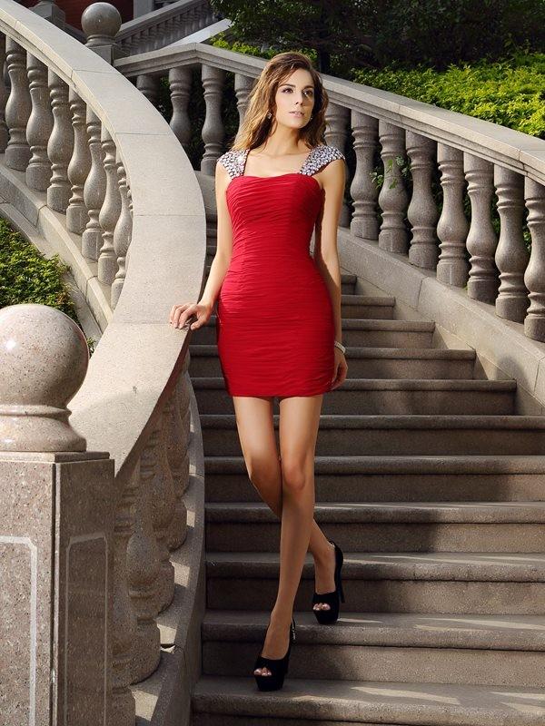 Sheath/Column Sleeveless Beading Short/Mini Straps Chiffon Cocktail Dresses