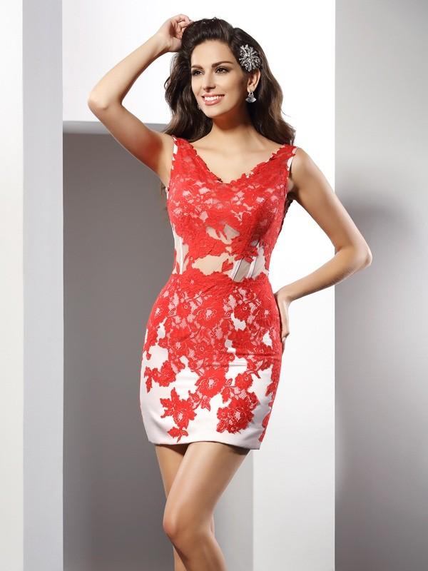 Sheath/Column Sleeveless Applique Short/Mini V-neck Satin Cocktail Dresses
