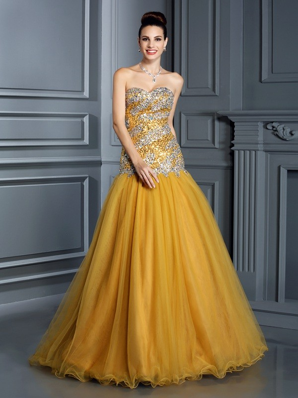 A-Line/Princess Sleeveless Ruffles Floor-Length Sweetheart Satin Dresses