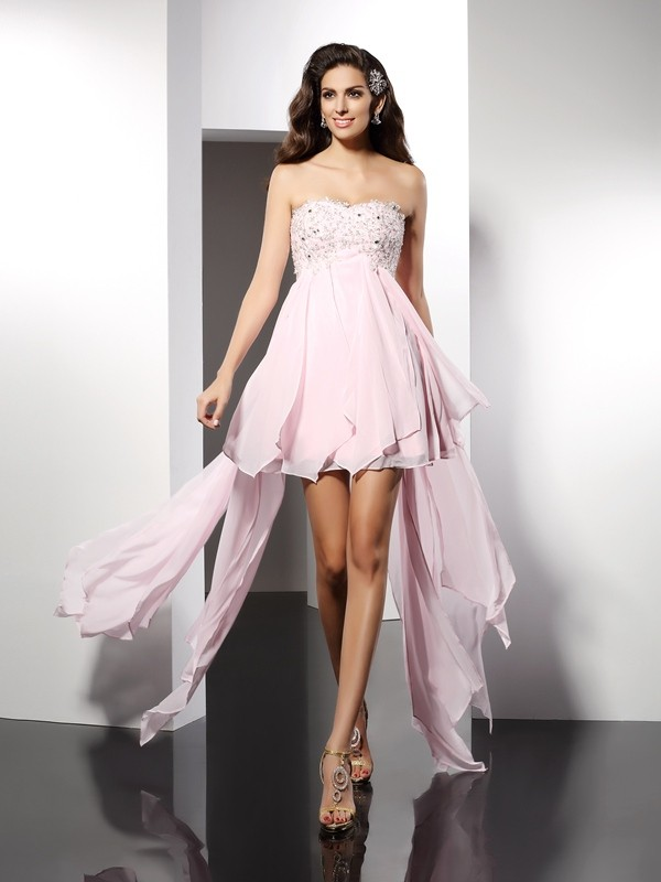 A-Line/Princess Sleeveless Applique Asymmetrical Sweetheart Chiffon Cocktail Dresses