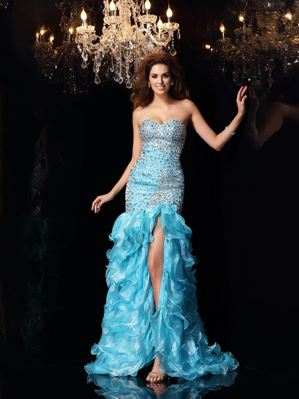 Trumpet/Mermaid Sleeveless Beading Asymmetrical Sweetheart Organza Dresses