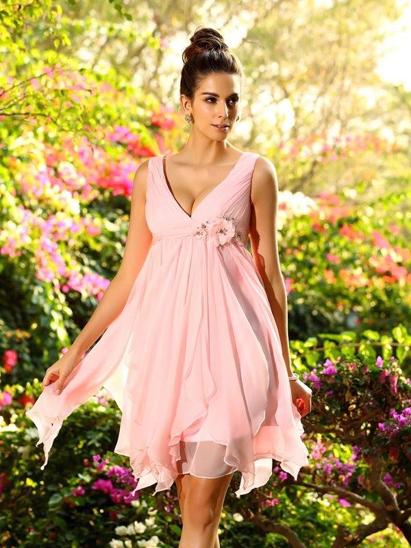 A-Line/Princess Sleeveless Ruffles Knee-Length V-neck Chiffon Bridesmaid Dresses