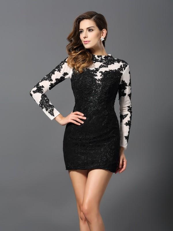 Sheath/Column Long Sleeves Applique Short/Mini High Neck Lace Cocktail Dresses