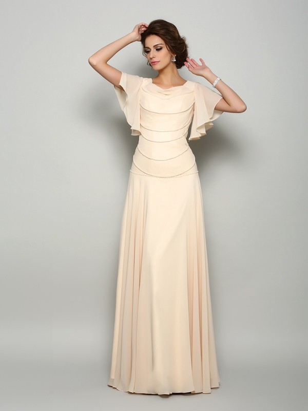 A-Line/Princess Short Sleeves Beading Floor-Length Square Chiffon Mother of the Bride Dresses