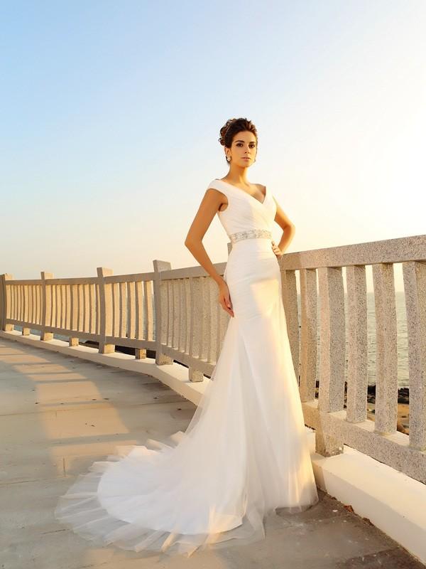 Sheath/Column Sleeveless Court Train Pleats Net V-neck Wedding Dresses
