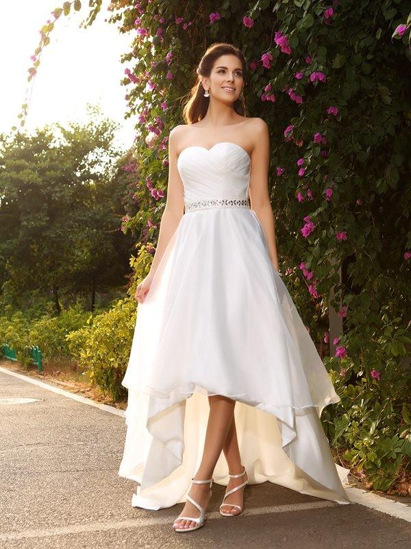 A-Line/Princess Sleeveless Asymmetrical Beading Organza Sweetheart Wedding Dresses