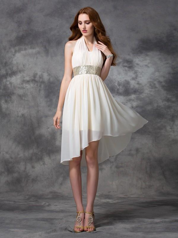 A-line/Princess Sequin Asymmetrical Halter Sleeveless Chiffon Cocktail Dresses