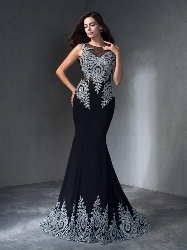 Trumpet/Mermaid Applique Sweep/Brush Train Scoop Sleeveless Chiffon Dresses