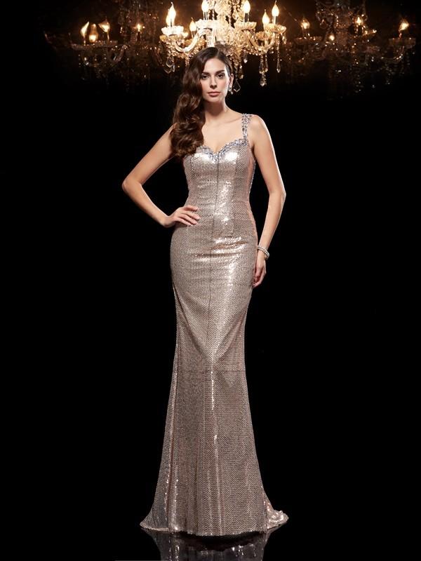 Sheath/Column Beading Sweep/Brush Train Straps Sleeveless Sequins Dresses