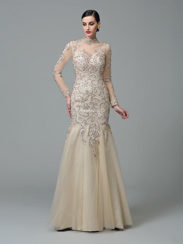 Sheath/Column Applique Floor-Length High Neck Long Sleeves Net Dresses