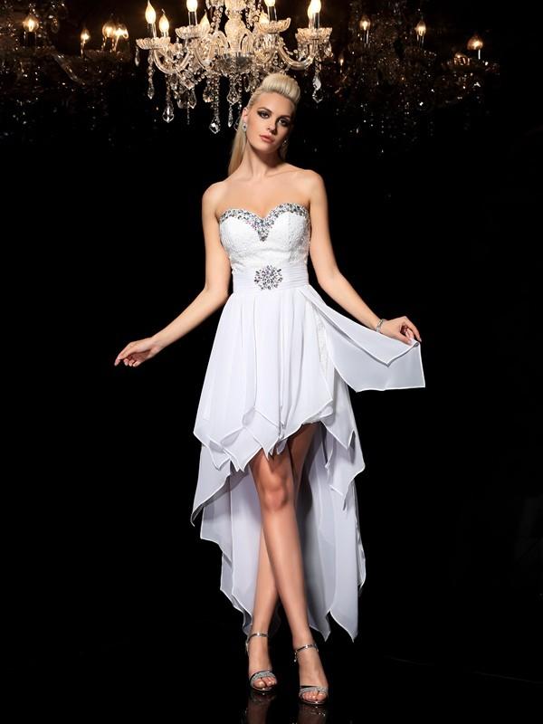 A-Line/Princess Beading Asymmetrical Sweetheart Sleeveless Chiffon Cocktail Dresses