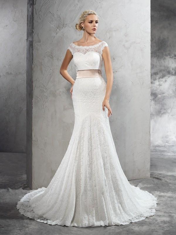 Sheath/Column Sash/Ribbon/Belt Court Train Sheer Neck Sleeveless Lace Wedding Dresses