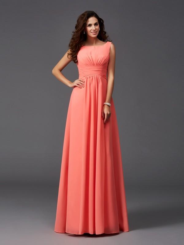 A-Line/Princess Ruffles Sweep/Brush Train Scoop Sleeveless Chiffon Bridesmaid Dresses