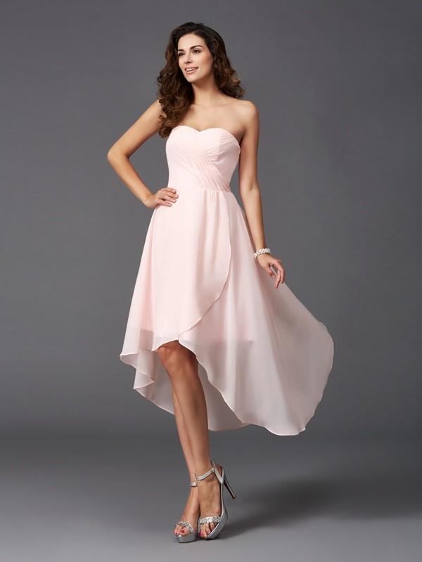 A-Line/Princess Ruffles Asymmetrical Sweetheart Sleeveless Chiffon Bridesmaid Dresses