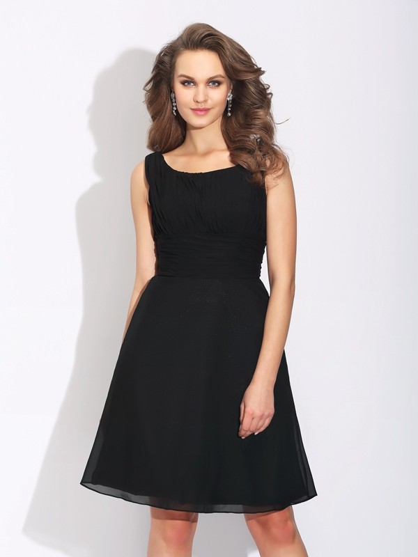 A-Line/Princess Bowknot Short/Mini Scoop Sleeveless Chiffon Cocktail Dresses