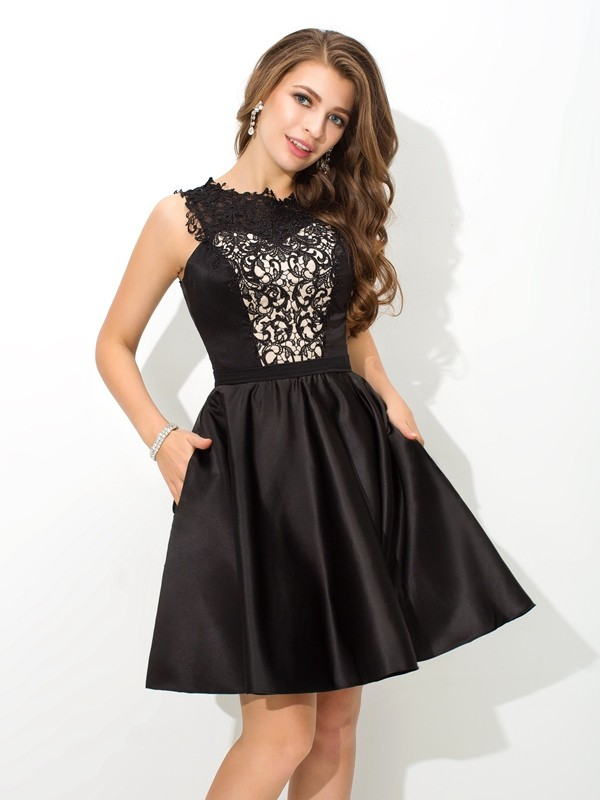 A-Line/Princess Lace Short/Mini Scoop Sleeveless Satin Cocktail Dresses
