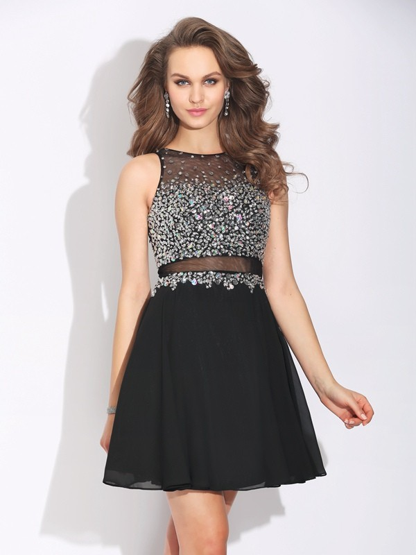 A-Line/Princess Beading Short/Mini Jewel Sleeveless Chiffon Dresses