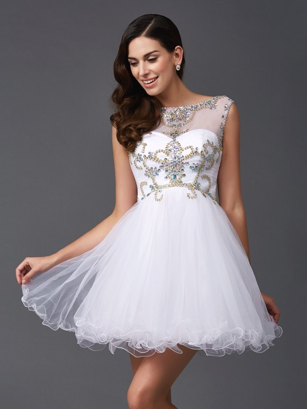 A-Line/Princess Beading Short/Mini Scoop Sleeveless Net Dresses
