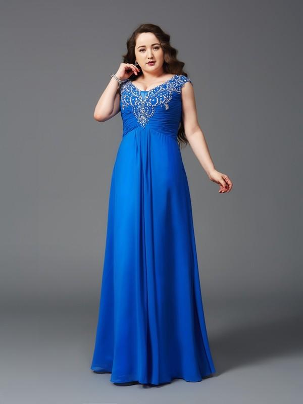 A-Line/Princess Beading Floor-Length Straps Short Sleeves Chiffon Dresses