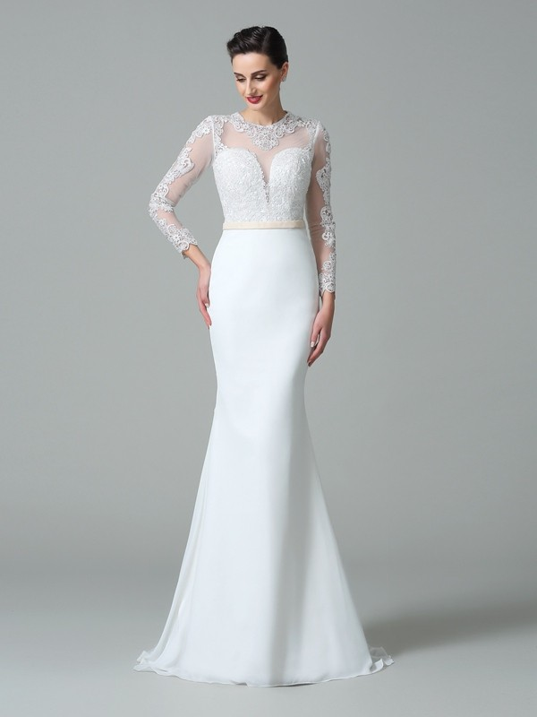Trumpet/Mermaid Lace Sweep/Brush Train Jewel Long Sleeves Satin Wedding Dresses
